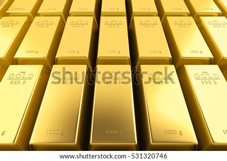 Gold bars background. Financial success, business investment and wealth concept. 3D illustration