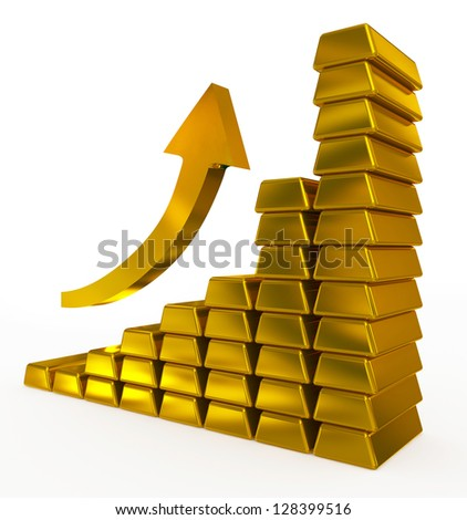 gold bars chart - stock photo