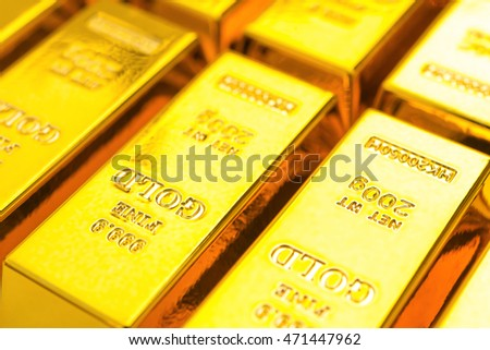 gold bars close up