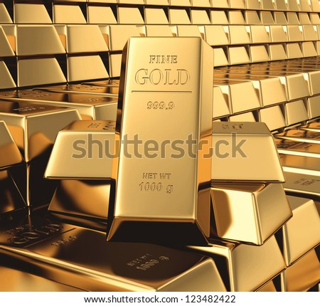 Gold bars 3d concept - stock photo