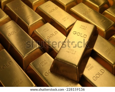 Gold Bars 1000 grams. Depth of field on the gold word.
