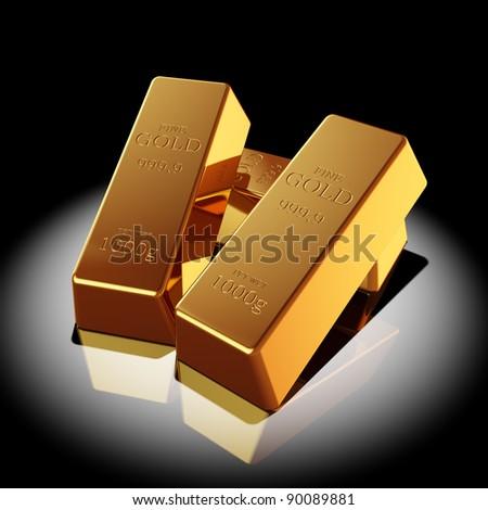 Gold bars illuminated spotlight - stock photo