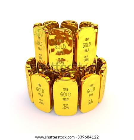 Gold bars in a stack. 3D illustration - stock photo