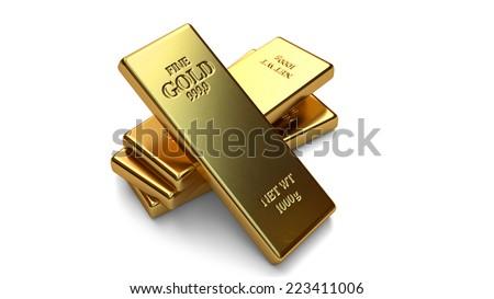 Gold bars, ingot on white backgrounds - stock photo