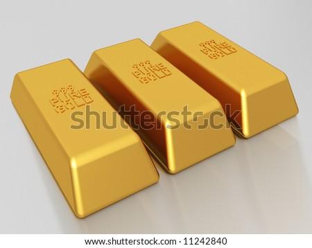 Gold bars of 999 pure gold bullion - stock photo
