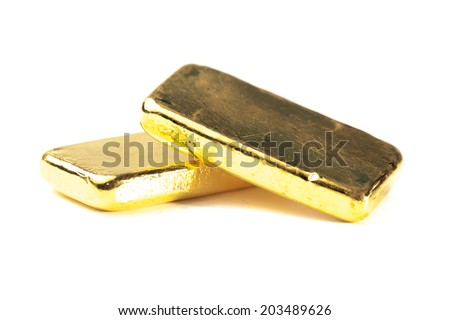 gold bars on a white background - stock photo