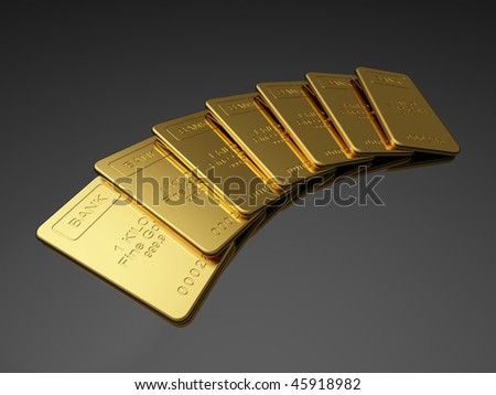 Gold bars on the dark background - stock photo