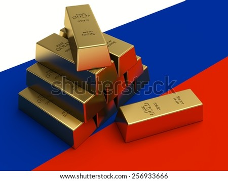 Gold bars on top of a russia flag.  - stock photo