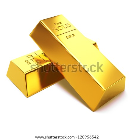 Gold bars on white background. 3d render illustration - stock photo