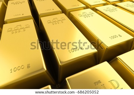 Gold bars pile background. Financial success, business investment object and wealth concept. 3D render