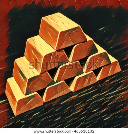 Gold bars pile on maroon background. Digital illustration in hand-drawn style for wealth and richness concept, business success, enterprise profit, gold savings, treasury. Financial or banking image