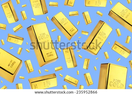 Gold bars rain on blue background - stock photo