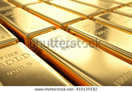 Gold bars stack. Financial success, business investment and wealth concept. 3D illustration