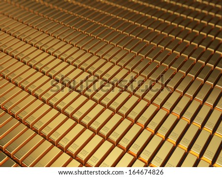 Gold bars stacking depth of field - stock photo