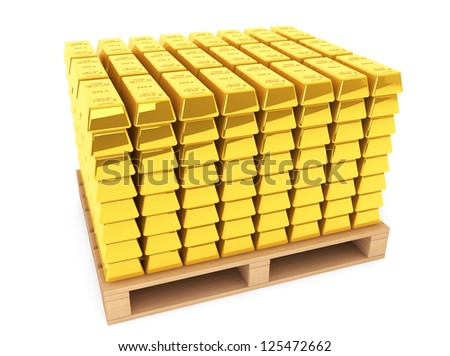 Gold Bars with wooden pallet on a white background - stock photo