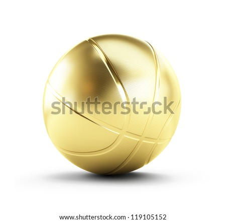 gold basketball ball on a white background - stock photo