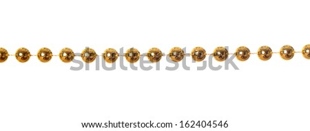 Gold beads garland isolated on white background  - stock photo