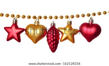 Gold beads garland with different Christmas baubles isolated on white background  - stock photo