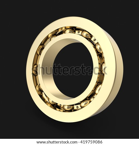 Gold bearing on black background with shadow. 3d illustration - stock photo