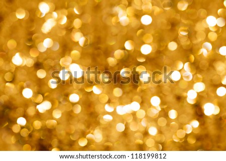 Gold blurred light.  Useful as Christmas background or greeting card.