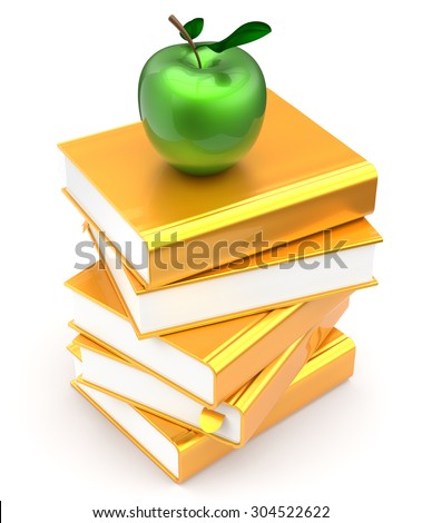 Gold books textbooks stack golden yellow apple green education studying reading learning school library knowledge literature idea icon concept. 3d render isolated on white - stock photo