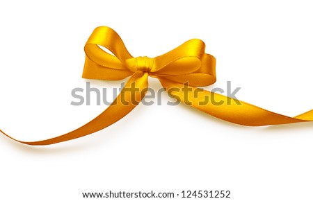 Gold bow with shadow on a white background - stock photo