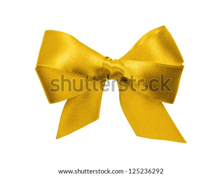 gold bow with tails, isolated on white - stock photo