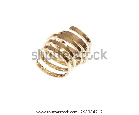 Gold bracelet isolated on white a background. - stock photo