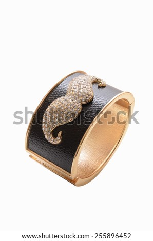 gold bracelet with a mustache on a white background - stock photo