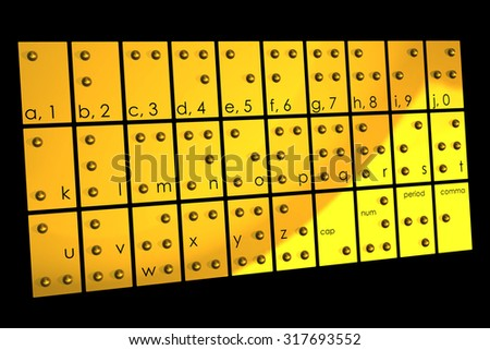 Gold braille alphabet three dimensional and shaded on black background