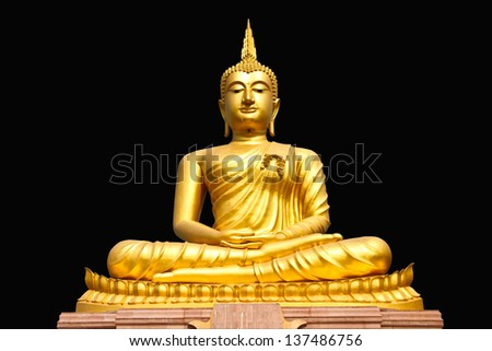 Gold buddha statue on black background - stock photo