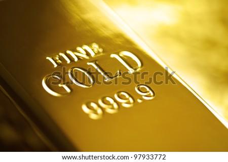 Gold bullion bar or ingot - stock photo