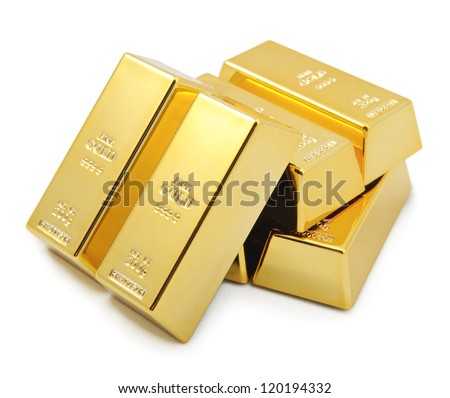 Gold bullion bars stacked on top of each other. - stock photo