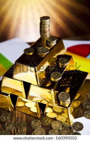 Gold bullion, Graph diagram and sunset - stock photo