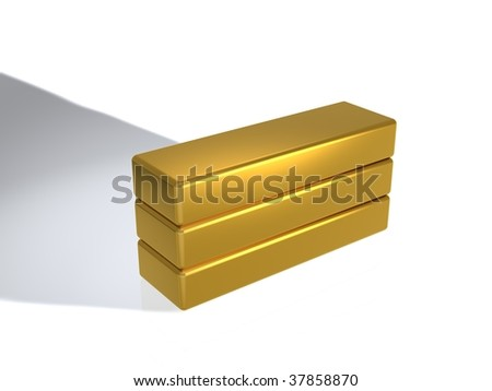 gold bullions - stock photo