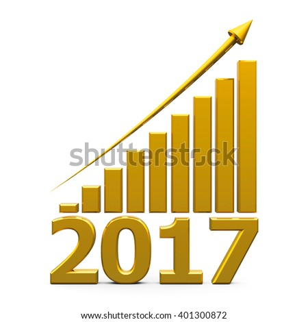 Gold business graph with gold arrow up represents the growth in 2017 year, three-dimensional rendering, 3D illustration - stock photo