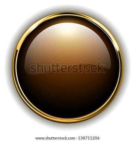 Gold button shiny metallic - stock photo