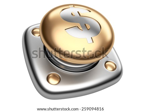 Gold button with dollar sign. Start up business concept. Isolated 3d image on a white background. - stock photo