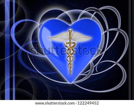 Gold caduceus medical symbol - stock photo