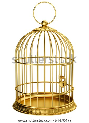 Gold cage - stock photo