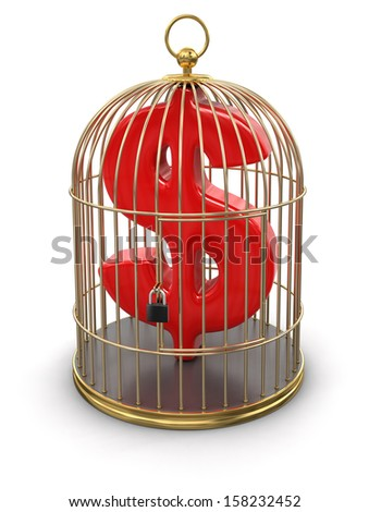 Gold Cage with dollar (clipping path included) - stock photo