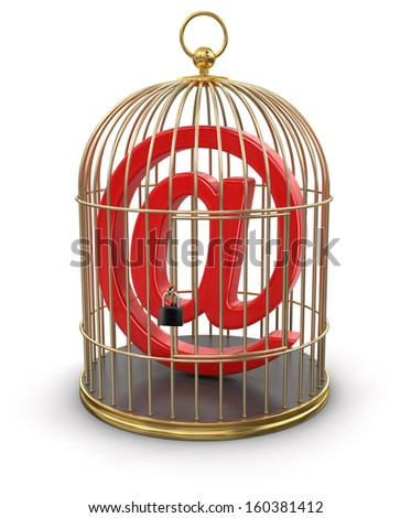 Gold Cage with E-Mail (clipping path included) - stock photo