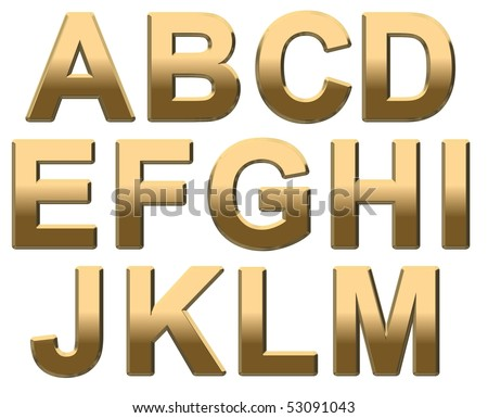 Gold Capital Letter Text on White A-M. 3D Render - stock photo
