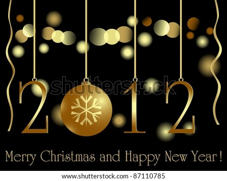 Gold 2012 card with xmas bauble and light - stock photo