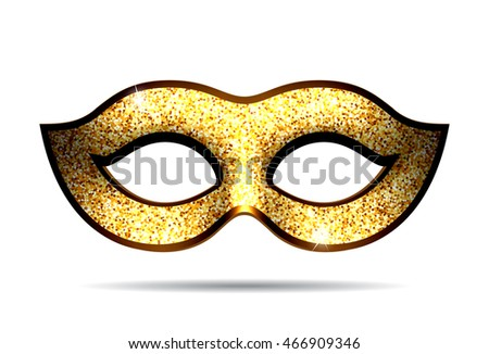 Gold carnival mask for masquerade costume. Isolated on white background