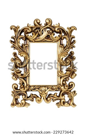 Gold carved picture frame isolated over white with clipping path.