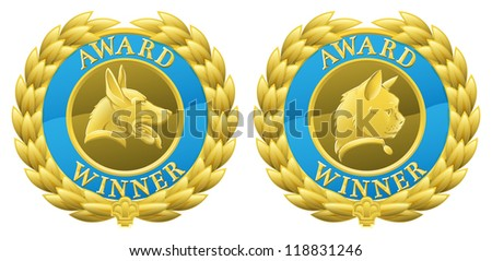 Gold cat and dog pet competition winners medals illustrations. Could be for winning pet in pet show or agility competition or for pet product winning in its category in a review or test. - stock photo