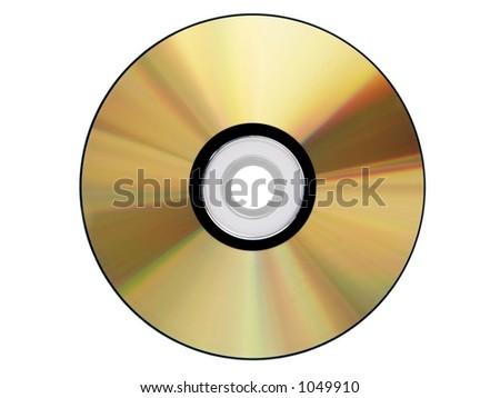 Gold cdrom isolated - stock photo