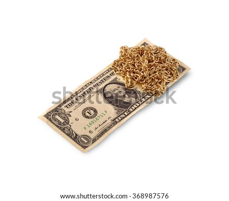 gold chain and dollar - stock photo
