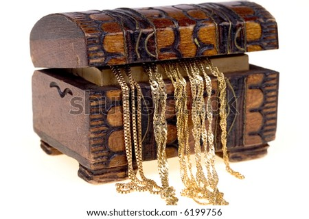 Gold chains in old wooden box isolated on white background